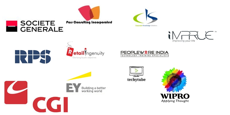 Cognizant, Bank of America , Sungard , CGI , Focus health care , Pars Consulting , Wells Fargo , Thomson Reuters, Mphasis , HSBC , EnY, symphony teleca